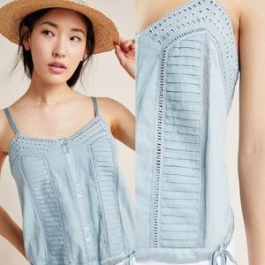 NWT $70 Anthropologie Blue Natasha Lace Tank XL